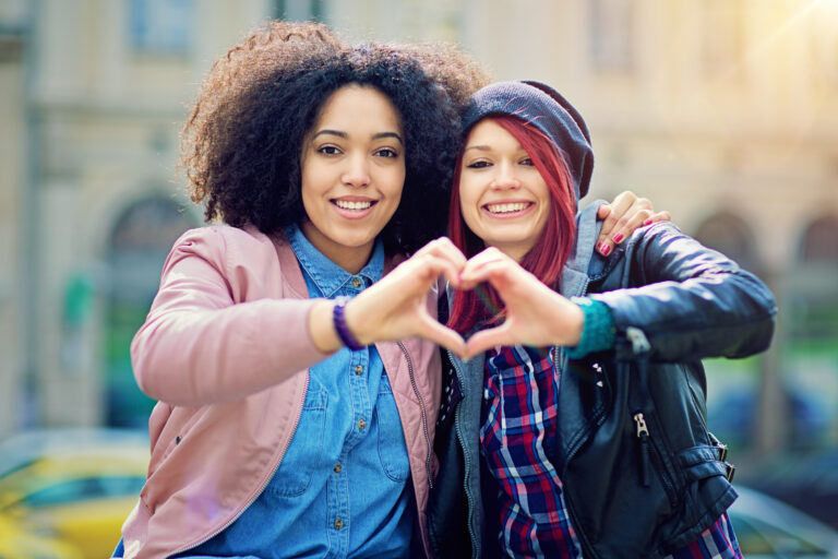 two teens with heart shape